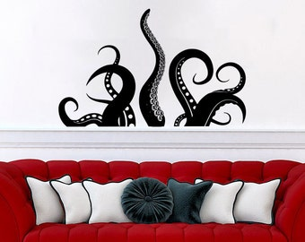 Octopus Wall Decal Vinyl Sticker Decals Tentacles Fish Deep Sea Ocean  Animals Nautical Bathroom Bedroom Decor