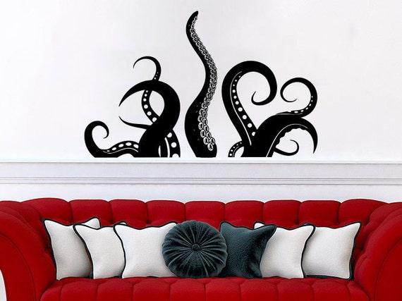 octopus wall decal vinyl sticker decals tentacles fish deep. Black Bedroom Furniture Sets. Home Design Ideas