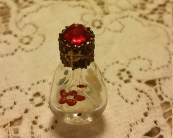 Vintage Miniature Glass Perfume Bottle Filigree Jeweled Top Handpainted 3 sided - adorable!