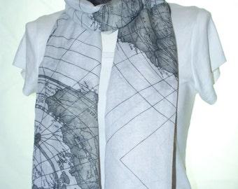 Black world map scarf shawl, Beach Wrap, Cowl Scarf, black world map print scarf, cotton scarf, gifts for her