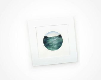Seascape, Watercolour Painting, Perspective Painting, Seascape Perspective, Ocean Watercolour Painting, Water Perspective, Mountain Painting