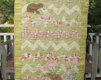Bunny Meadow handmade cot quilt