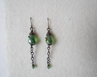 Lantern suspended ... copper handmade earrings