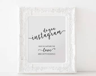 Instagram Printable, Instagram Hashtag Sign, Wedding Sign, Wedding Ideas, Instagram Print, Wedding Print