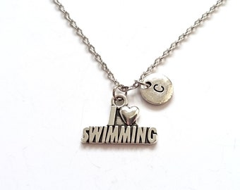 I Love Swimming Necklace, Swimmer Initial Charm, Sport Jewelry, Personalized Necklace, Initial Necklace (SM17)