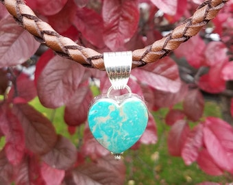 Vintage Sterling Silver Turquoise Heart Pendant on Braided Leather Necklace
