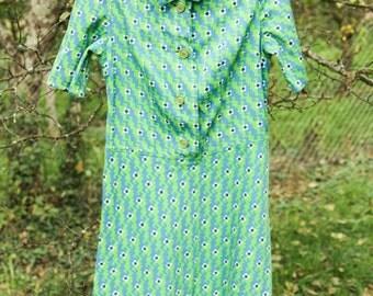 SALE Green Flower Power 70's Dress