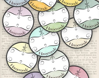 "Round ""Homemade"" Labels printable crafting scrapbooking add text digital download collage sheet - VDLAVI0851"