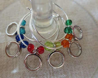 Simple Circle wine charms - set of 6
