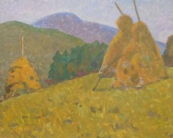 MOUNTAINS LANDSCAPE VINTAGE Original Oil painting by a Soviet Ukrainian Artist Ovsyannikova E.  1970s, Hay Painting, Countryside scenes
