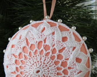 Satin Ornament, Peach, White,