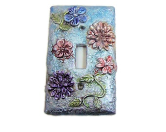 Blue Silver Switch Plate - Polymer Clay Covered Swichplate - Real silver floral light switch