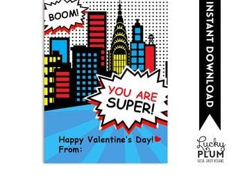 Superhero Valentine Printable / Hero Valentine Printable / Valentine Printable Tag / Boy Valentine Printable / Comic Valentine Printable Tag
