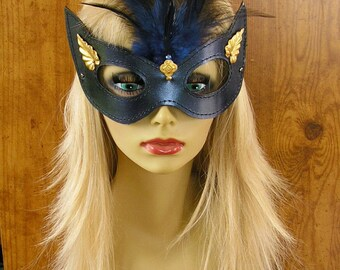 """Masquerade Half Mask, Midnight blue metallic leather with brass leaves and charm, blue feathers and ribbon ties, large 8"""" wide #1512"""