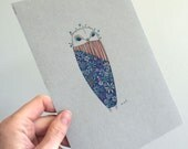 Owl Illustration Original Drawing Art No. 56 - Colored Pencil and Ink red blue flower colors - affordable art OOAK
