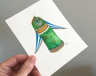 Original Owl Art - No. 23 - Watercolor and Pencil Illustration Circus owl in bright colors green blues - affordable art - OOAK