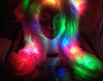 BEAR HOOD Blink + Glow Faux Fur Hat Rainbow LED Lights BurningMan-style Rave Festival Bearhood AnimalHood for delivery before Festivals