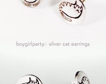 CAT Stud Earrings - silver cat earrings post earrings stud earings by boygirlparty - cat jewelry girls earrings silver cat earrings