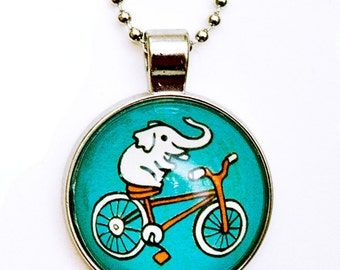 Elephant Necklace - Kawaii Elephant Bicycle Necklace - Glass Elephant Pendant Necklace Elephant Jewelry Bicycle Pendant