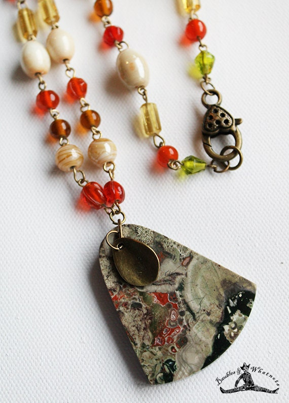 Beaded Long Necklace with Spider Jasper Stone Pendant - Vintage Bronze - OOAK