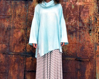 The Boardwalk Cowled Beach Tunic with Sleeves in Organic Hemp Fleece. Made to order.