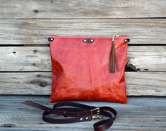Small Leather Cross Body Bag / Fold Over Clutch  / Tablet Sleeve / Ipad Case / Feral Empire / Zipper Clutch