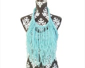 Aqua Bohemian, Statement Necklace, Fringe Necklace, Scarf, Bib, Chestplate, Summer, Boho Wedding, Gypsy, Mardi Gras, Festival Outfits