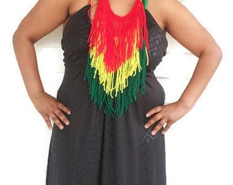 Fringe Necklace, African Clothing, Festival Wear, Rasta Scarf, Ethnic Wear,Tribal Wear