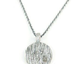 Tree Bark Pendant with Rough Diamond Knot in Sterling Silver - Made to Order