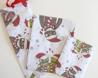 Paper Bags: Instant Download, Christmas Monsters