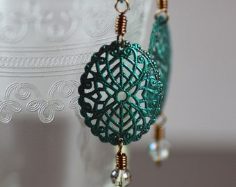 Handpainted Pearlescent Teal Green Filigree Oval Antiqued Brass Earrings with Disco Ball Cut Crystals