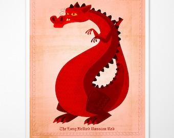 Dragon Art - The Long-Bellied Russian Red Print - Cute Dragon Nursery Art - Nursery Prints- Childrens Art - Boys Nursery Art- Kid Wall Art