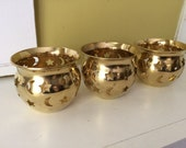 Lot of THREE Brass Celestial Candle Holder / Altar / Moon Stars / Meditation / Magick