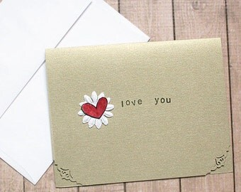 Love You Gold-Metallic Note / Greeting / Valentine Card - 5.5 inches by 4.25 inches