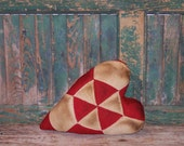 Antique Quilt Heart Shaped Pillow, Rustic Pillow, Primitive Heart Pillow, Cottage Farmhouse Decor, Red & White Cushion, - READY TO SHIP