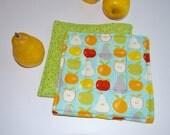 Set of TWO Modern Hot Pads  - Apple, Lemon, Pear - Green Polka Dot - Modern Potholders -