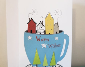 Christmas Cards , Blank Greeting Cards , Holiday Card, Thank You Card, Houses in a Tea Cup