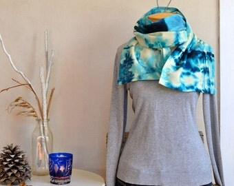 Hand Dyed Scarf Modern Tie Dye Bright Aqua Blue & Cream Light Wool Shibori Style