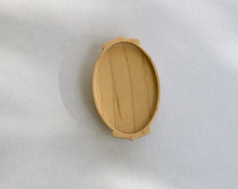Large NO Laser Hardwood Bezel Setting - Maple - Oval  - 34 x 52 mm - (C1-Mp)