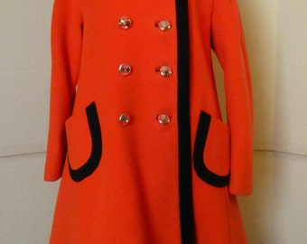Vintage 60s Orange Mod Scooter Princess Coat Darling