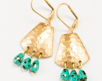 Turquoise and Brass Chandeliers, Turquoise Earrings, Hammered Brass Chandeliers