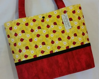 Ladybugs and Daisys purse tote Bags by April SALE
