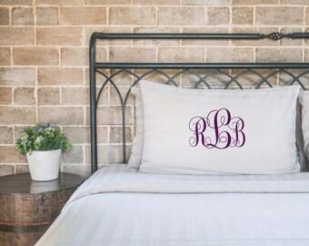 Monogram Pillowcase, personalized pillow, monogrammed gifts, dorm decor, dorm room decor, Custom Monongram, back to school gift