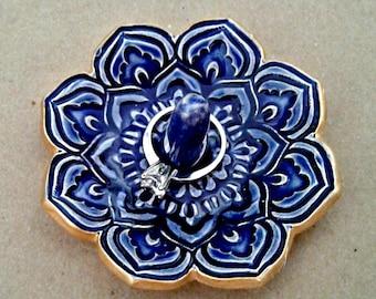 Ceramic Mirror Blue Lotus Ring Holder Ring Dish  gold edged