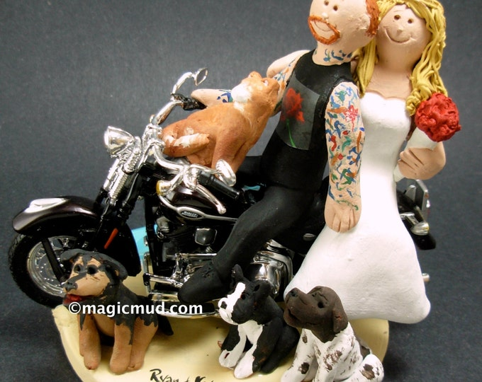 Tattooed Groom on a Harley Wedding Cake Topper