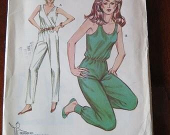 Vintage KWIK SEW1309  Misses Sleeveless Jumpsuit sz XS-L UNCUT