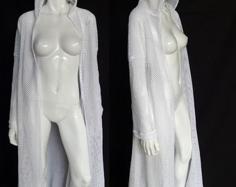 White Cotton Net Duster with Hood. Loungewear, Robe, Beach Coverup, Festival Clothing