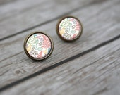Pastel Nature Leaf Print Stud Post Earrings Gifts for Her, Silver or Brass - NATURE IN PASTEL