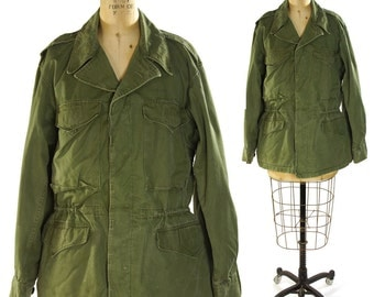 1950s Army Field Jacket / Vintage Military Issue Field Coat / USA / Green Cotton / M-1950