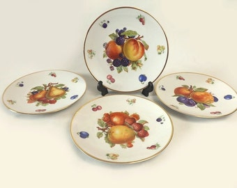 Bavarian Salad Plates, Set of 4 Dishes, Debra Pattern, Fruits with Gold Trim, Made in Germany